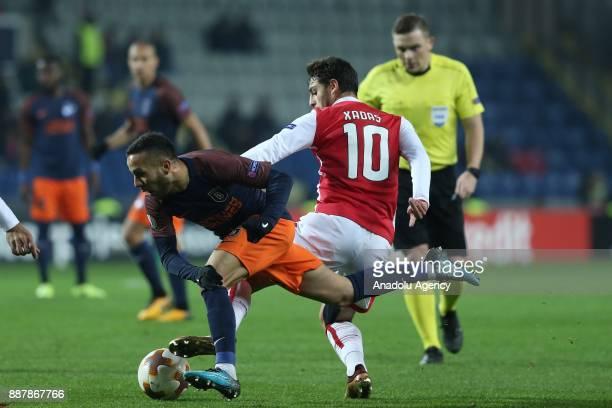 Kerim Frei of Medipol Basaksehir in action against Xadas of Braga during the UEFA Europa League Group C soccer match between Medipol Basaksehir and...
