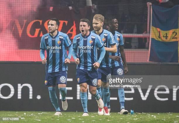 Kerim Mrabti of Djurgardens IF celebrates scoring the 20 goal during a semifinal match of the Swedish Cup between AIK and Djurgardens IF at Friends...