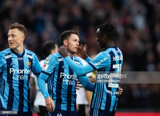 Kerim Mrbati of Djurgardens IF celebrates after scoring to 20 during the Allsvenskan match between Djurgardens IF and Orebro SK at Tele2 Arena on May...