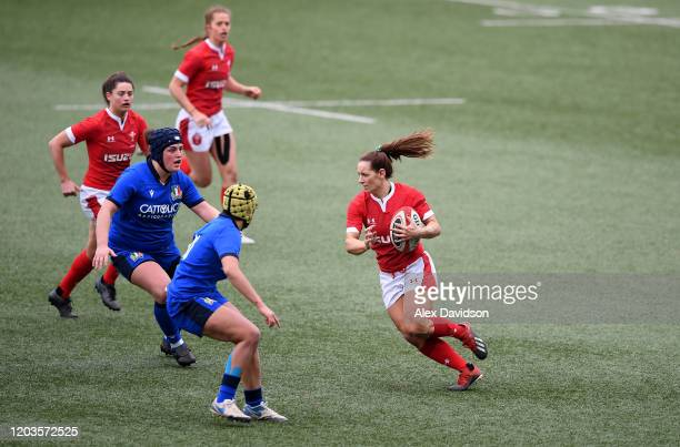 Kerin Lake of Wales goes into contact during the 2020 Women's Six Nations match between Wales and Italy at Cardiff Arms Park on February 02, 2020 in...