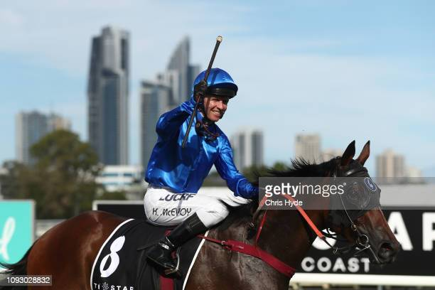 Kerin McEvoy celebrates after riding Exhilarates to a win in race 8 during the 2019 Magic Millions on January 12, 2019 in Gold Coast, Australia.