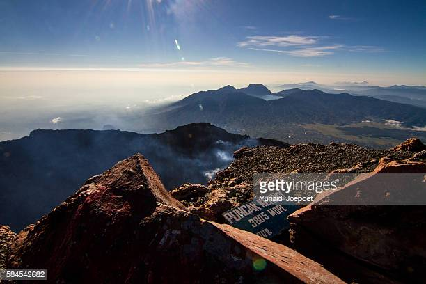 Kerinci Volcano with Background of Danau Gunung Tujung and Bukit Barisan Mountain Range, Sumatra