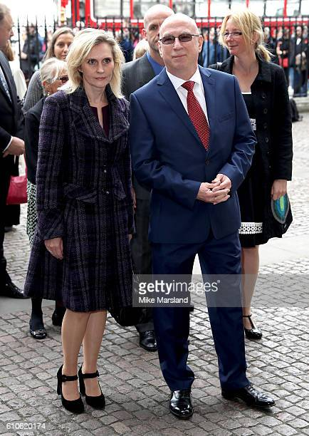 Kerith Coldham and radio broadcaster Ken Bruce attend a memorial service for the late Sir Terry Wogan at Westminster Abbey on September 27 2016 in...