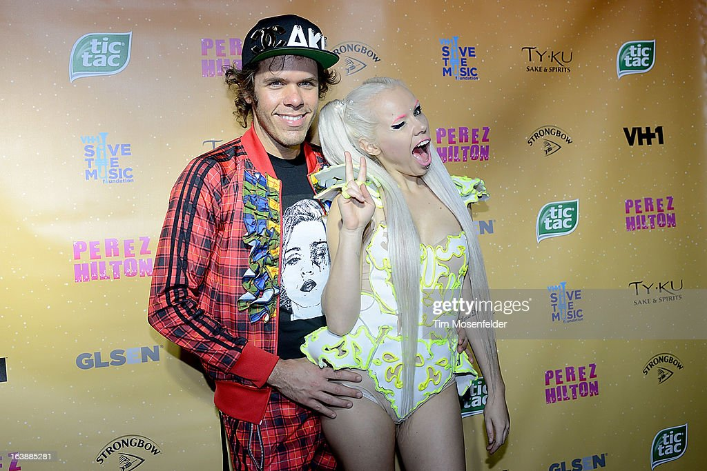 Kerli (R) and Perez Hilton pose on the red carpet for Perez Hilton's One Night In Austin event at the Austin Music Hall during the South By Southwest Music Festival on March 16, 2013 in Austin, Texas.