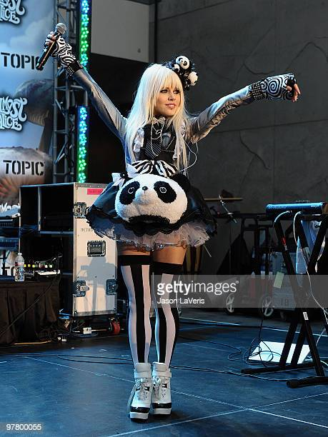Kerli performs at the 'Alice In Wonderland' Great Big Ultimate Fan Event at Hollywood Highland Courtyard on February 19 2010 in Hollywood California