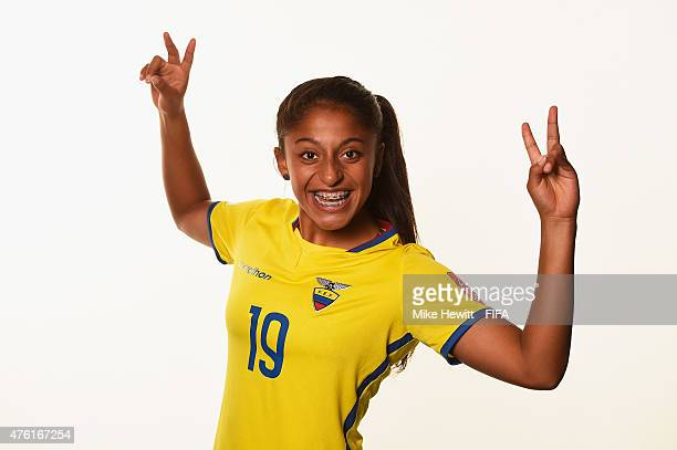 Kerlly Real of Ecuador poses for a portrait during the official Ecuador portrait session ahead of the FIFA Women's World Cup 2015 at the Sheraton...