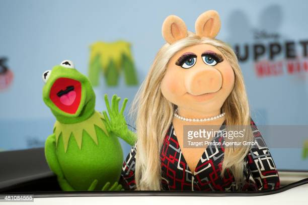 Kermit and Miss Piggy attend the 'Muppets most wanted' Photocall at Sony Centre on March 28 2014 in Berlin Germany