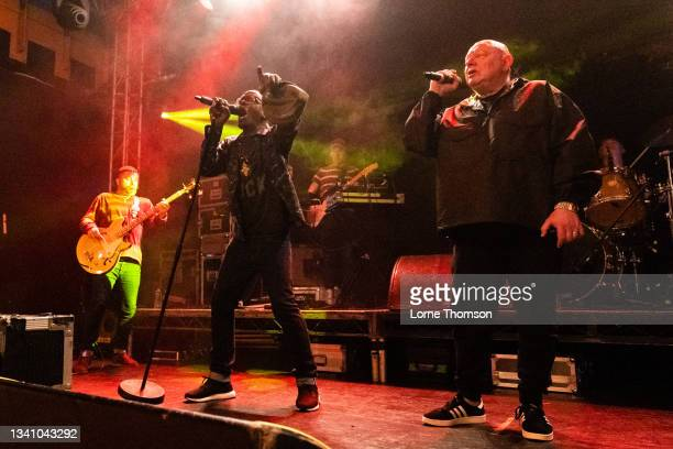 Kermit and Shaun Ryder of Black Grape perform at O2 Academy Islington on September 17, 2021 in London, England.