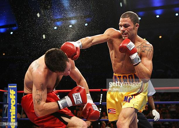 Kermit Cintron knocks out Walter Mathysse in the second round during their IBF Welterweight Championship fight on July 14, 2007 at Boardwalk Hall in...