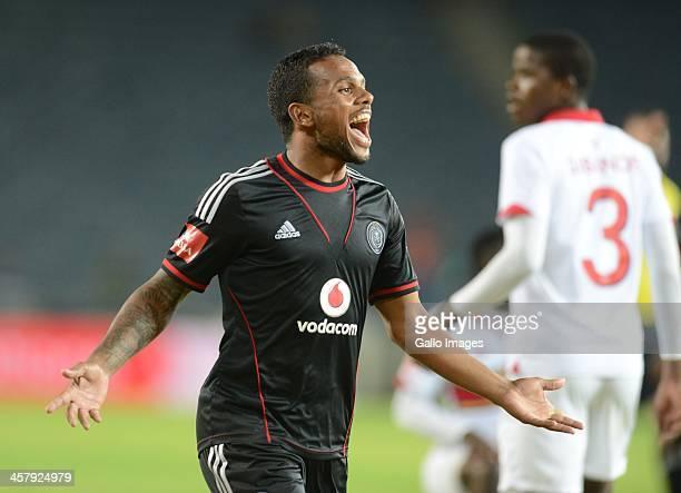 Kermit Erasmus celebrates during the Absa Premiership match between Orlando Pirates and University of Pretoria at Orlando Stadium on December 19,...