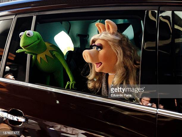 Kermit the Frog and Miss Piggy attend 'The Muppets' press conference at Hesperia hotel on January 23 2012 in Madrid Spain