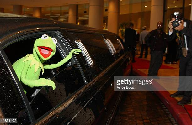 Kermit the Frog arrives in a limo at the 17th Annual Genesis Awards at the Beverly Hilton Hotel on March 15 2003 in Beverly Hills California