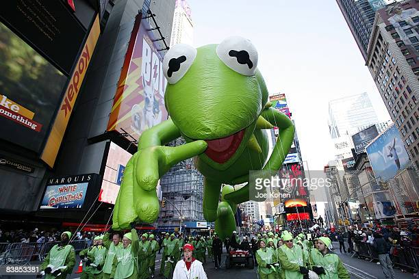 Kermit the Frog balloon float down Broadway at the 82nd Annual Macy's Thanksgiving Day Parade on the streets of Manhattan on November 27 2008 in New...