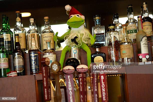 Kermit the Frog graces bottle of alcohol at There restaurant on September 15 2016 in Denver Colorado