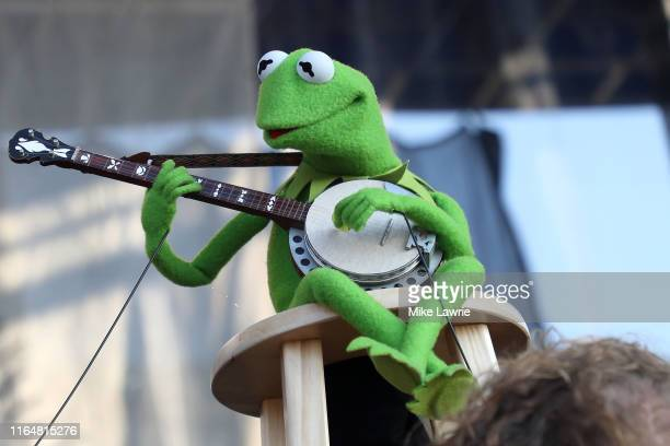 Kermit the Frog performs during the If I Had A Song tribute set during day three of the 2019 Newport Folk Festival at Fort Adams State Park on July...