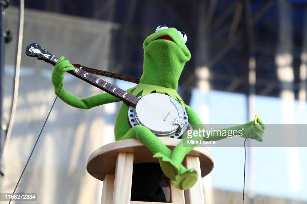 """Kermit the Frog performs during the """"If I Had A Song"""" tribute set during day three of the 2019 Newport Folk Festival at Fort Adams State Park on July..."""