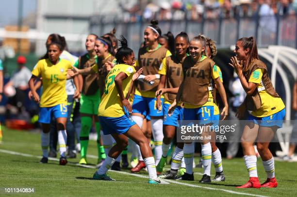 Referee Esther Staubli during the FIFA U20 Women's World Cup France 2018 group B match between Mexico and Brazil at Stade du Clos Gastel on August 5...