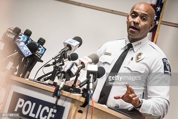 Kerr Putney chief of the CharlotteMecklenburg police talks with the media concerning the release of police video from a recent officer involved fatal...