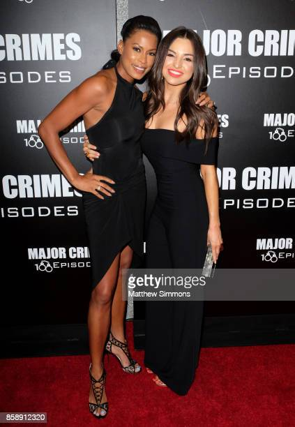 Kerran Giovanni and Jessica Meraz at TNT's 'Major Crimes' 100th episode celebration at 71Above on October 7 2017 in Los Angeles California