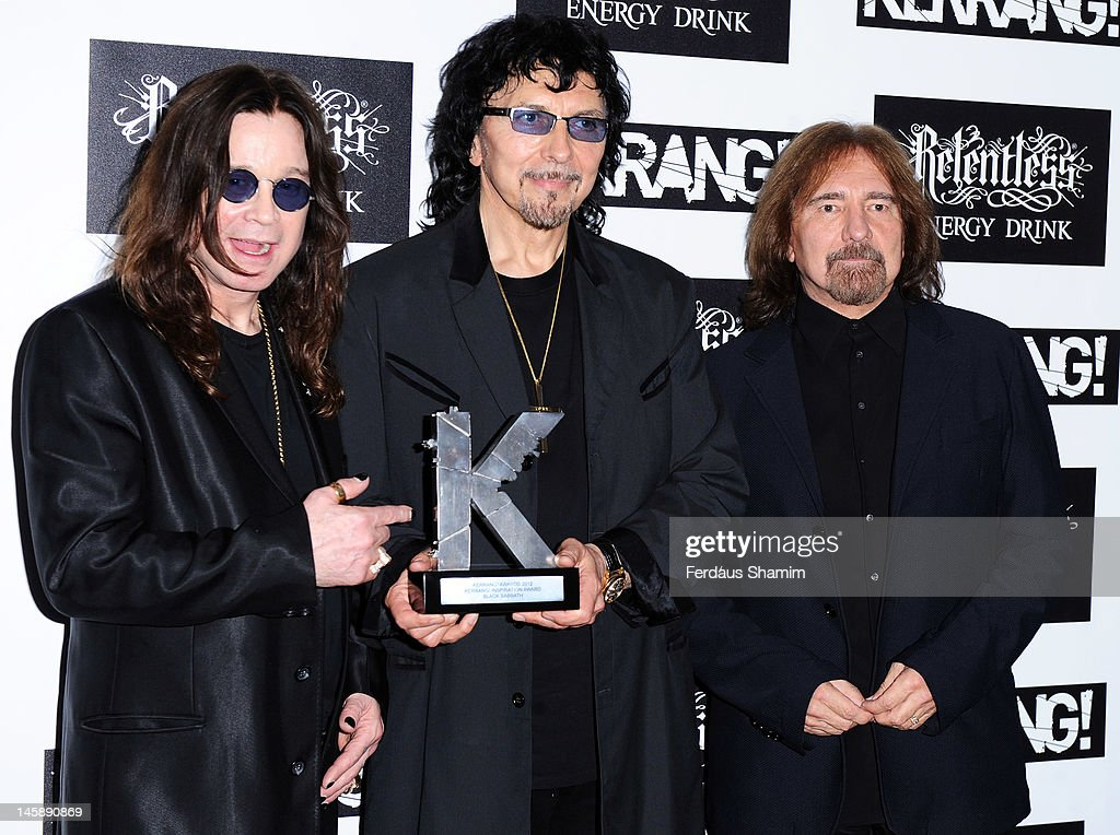 Kerrang! Inspirational Award winners Ozzy Osbourne, Tony Iommi and Geezer Butler of Black Sabbath poses in the Winners Area during the Kerrang! Awards at The Brewery on June 7, 2012 in London, England.