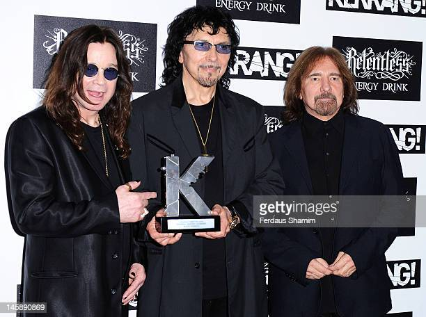 Kerrang Inspirational Award winners Ozzy Osbourne Tony Iommi and Geezer Butler of Black Sabbath poses in the Winners Area during the Kerrang Awards...