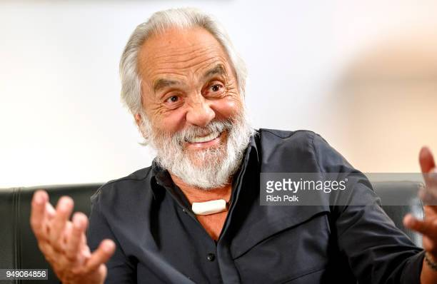 Kerri Doherty of 'The IMDb Show' lounges with Cheech and Chong at the Grammy Museum in Los Angeles to help them celebrate the 40th anniversary of the...