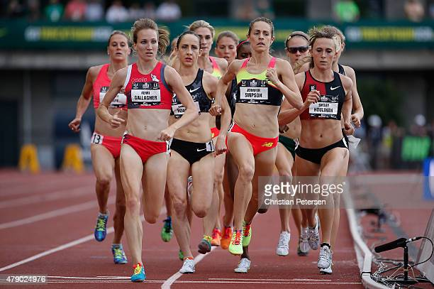 Kerri Gallagher, Jennifer Simpson and Shelby Houlihan compete in the Women's 1,500 Meter Run final during day four of the 2015 USA Outdoor Track &...