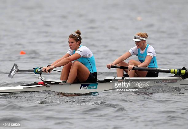 Kerri Gowler and Grace Prendergast during racing in the Winter Series at Rowing New Zealand High Performance Centre Lake Karapiro on May 30 2014 in...