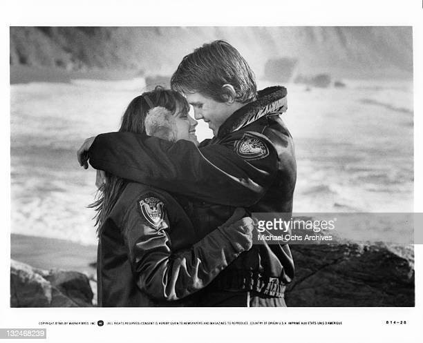 Kerri Green And Josh Brolin embrace in a scene from the film 'Goonies' 1985