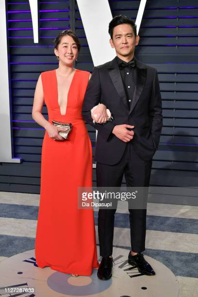 Kerri Higuchi and John Cho attend the 2019 Vanity Fair Oscar Party hosted by Radhika Jones at Wallis Annenberg Center for the Performing Arts on...