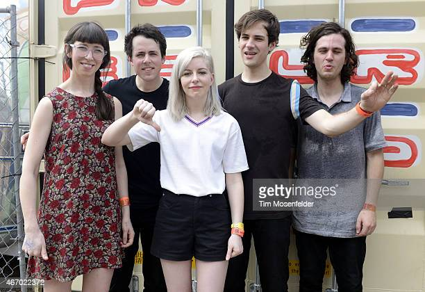 Kerri MacLellan Brian Murphy Molly Rankin Alec O'Hanley and Phil MacIsaac of Alvvays pose at the Pitchfork party at The Mohawk on March 19 2015 in...