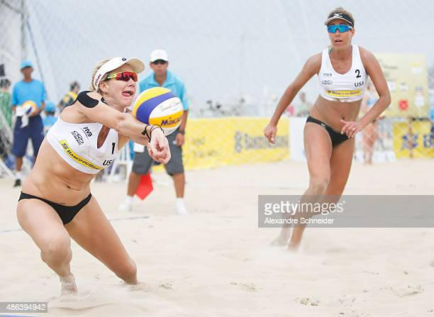 Kerri Walsh and April Ross in action during the main draw match against Italy at Copacabana beach during day two of the FIVB Beach Volleyball World...