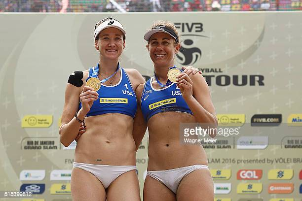 Kerri Walsh and April Ross of United States celebrates after receive his Gold Medals during the FIVB Rio Grand Slam on Copacabana beach on March 13...