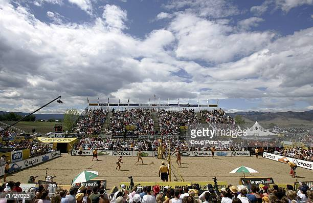 Kerri Walsh and Misty MayTreanor left court defeated Tammy Leibl and Dianne DeNecochea in their semifinal match in the AVP Cuervo Gold Crown Boulder...