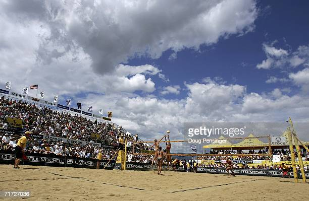 Kerri Walsh and Misty MayTreanor near court defeated Tammy Leibl and Dianne DeNecochea in their semifinal match in the AVP Cuervo Gold Crown Boulder...