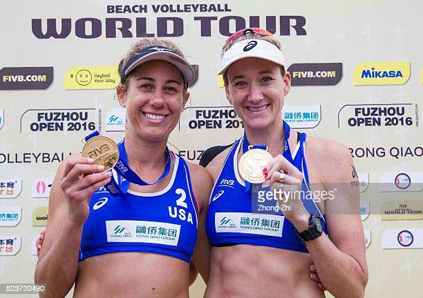 Kerri Walsh April Ross of USA pose for photo with their gold medal during the Award Ceremony during the FIVB Beach Volleyball World Tour Fuzhou Open...