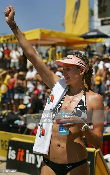 Kerri Walsh celebrates after winning the AVP Manhattan Beach Open final match on August 12 2006 in Manhattan Beach California Misty MayTreanor and...