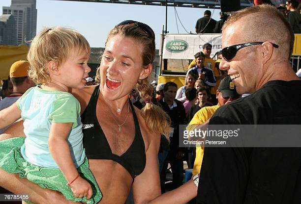 Kerri Walsh celebrates with her niece and husband Casey Jennings after the AVP San Francisco Best of the Beach Open final match at Pier 30/32 on...