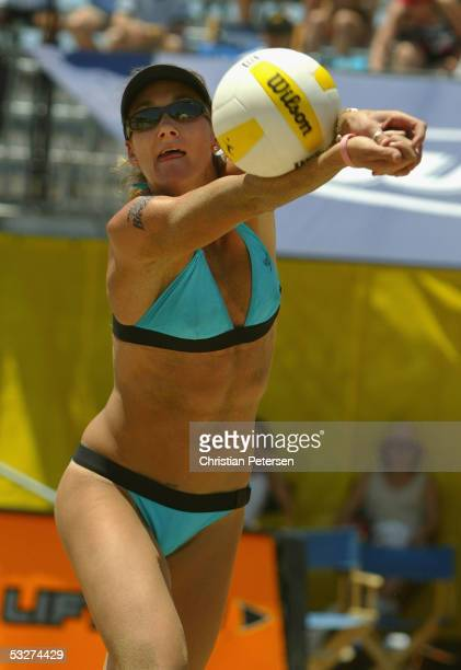 Kerri Walsh digs the ball during the AVP Hermosa Beach Open match against Saralyn Smith and Ann Windes at the Hermosa Beach Pier on July 22 2005 in...