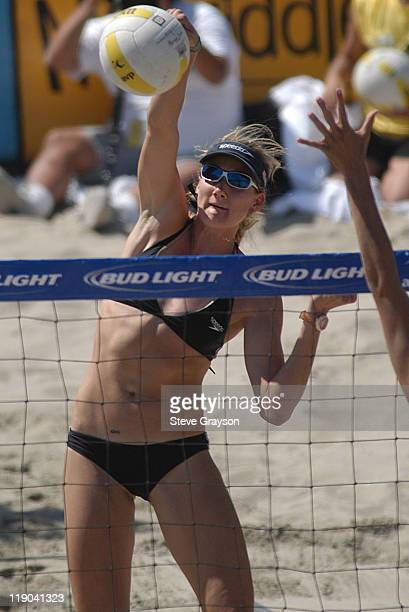 Kerri Walsh hits a spike in the women's final of the 2004 AVP Nissan Series Hungting Beach Open at the Huntington Beach Pier May 30 2004