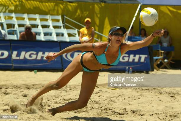 Kerri Walsh, in a team with Misty May-Treanor, makes a diving dig during the AVP Hermosa Beach Open match against Saralyn Smith and Ann Windes at the...