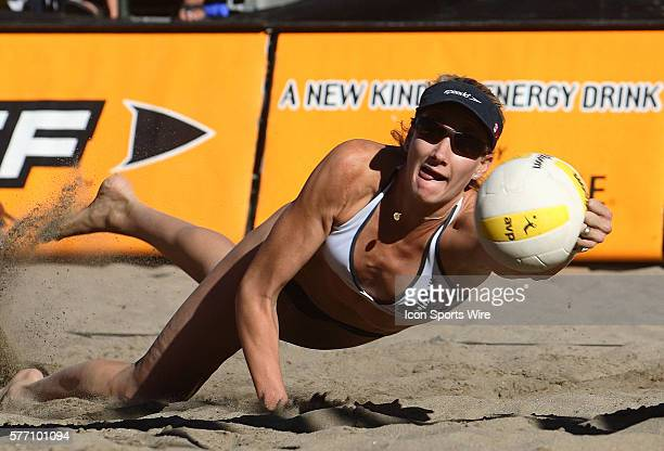 Kerri Walsh in action during the AVP Lake Tahoe Open in Lake Tahoe CA