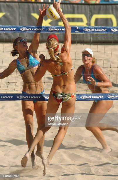 Kerri Walsh in action during the quarterfinal round of the 2005 Huntington Beach Open at the Huntington Beach Pier August 13 2005