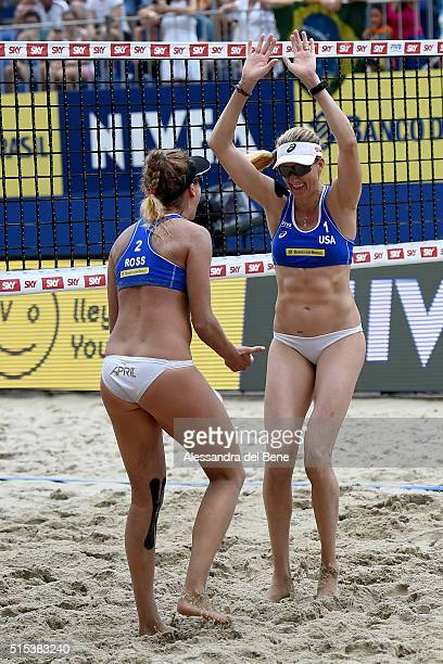 Kerri Walsh Jennings and April Ross of the United States celebrate winning the gold medal match against Kinga Kolosinska and Monika Brzostek of...