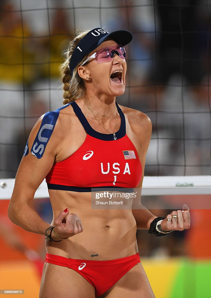 Kerri Walsh Jennings of the United States celebrates a point during the Women's Beach Volleyball preliminary round Pool C match against Mariafe Artacho del Solar and Nicole Laird of Australia on Day 1 of the Rio 2016 Olympic Games at the Beach Volleyball Arena on August 6, 2016 in Rio de Janeiro, Brazil.