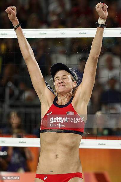 Kerri Walsh Jennings of the United States celebrates a point during the Beach Volleyball Women's Bronze medal match against Larissa Franca Maestrini...