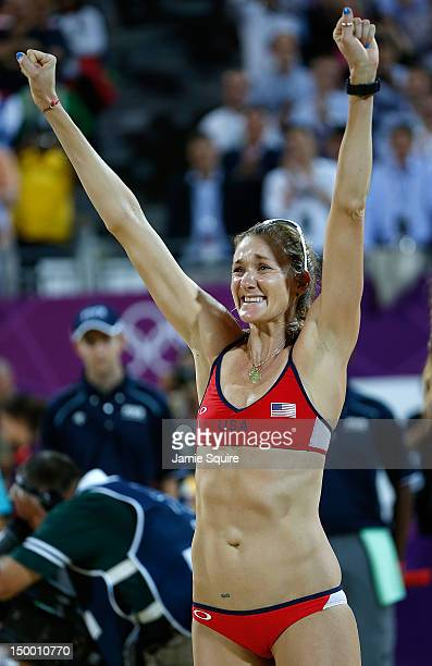 Kerri Walsh Jennings of the United States celebrates winning the Gold medal in the Women's Beach Volleyball Gold medal match on Day 12 of the London...