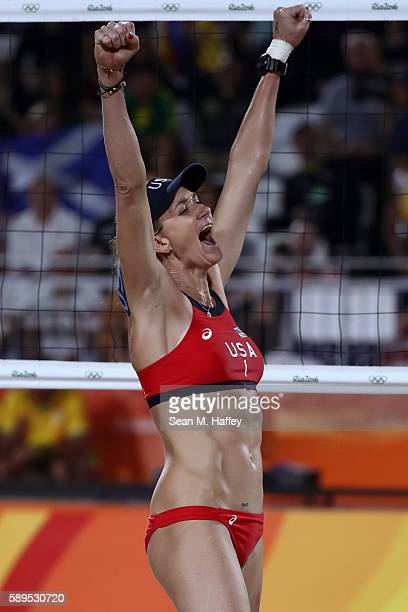 Kerri Walsh Jennings of United States celebrates a point during a Women's Quarterfinal match between the United States and Australia on Day 9 of the...
