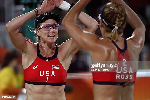 Kerri Walsh Jennings of United States celebrates with teammate April Ross during a Women's Quarterfinal match between the United States and Australia...