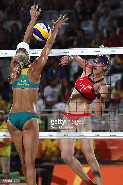 Kerri Walsh Jennings of United States plays a shot against Louise Bawden of Australia during a Women's Quarterfinal match between the United States...